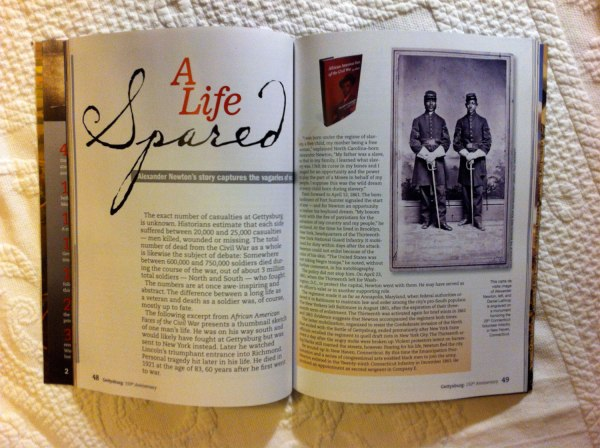 Magazine spread from Gettysburg commemorative magazine